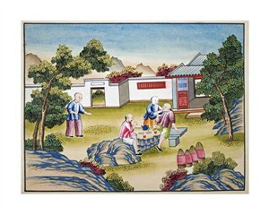 "Chinese School Fine Art Open Edition Giclée:""Workers Meal Time"""