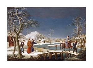 "Chinese School Fine Art Open Edition Giclée:""Winter: a Frozen River Landscape"""