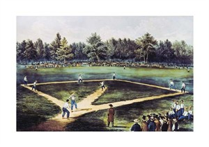 """Currier and Ives Fine Art Open Edition Giclée:""""The American National Game of Baseball at the Elysian Fields"""""""