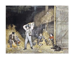 """Currier and Ives Fine Art Open Edition Giclée:""""Husking"""""""