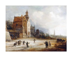 "Fine Art Open Edition Giclée:""Soldiers Playing Skittles on a Road"""