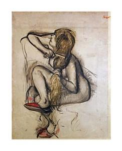 """Edgar Degas Fine Art Open Edition Giclée:""""Woman Combing Her Hair"""""""