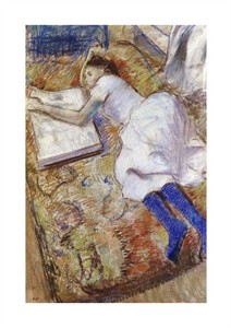 "Edgar Degas Fine Art Open Edition Giclée:""A Young Girl Stretched Out and Looking at an Album"""