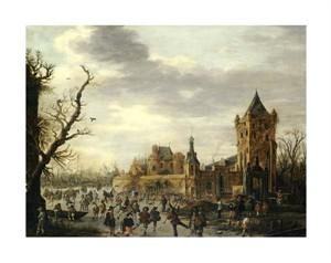 """Jan Van Goyen Fine Art Open Edition Giclée:""""A View of Kasteel Batestein Vianen, in Winter"""""""