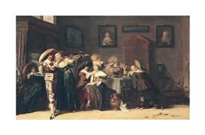 "Dirk Hals Fine Art Open Edition Giclée:""An Elegant Company Carousing in an Interior"""