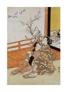 "Harunobu Fine Art Open Edition Giclée:""Two Women Seated By a Verandah"""