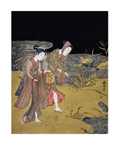 """Suzuki Harunobu Fine Art Open Edition Giclée:""""A Young Couple Catching Fireflies at Night on the Banks of a River"""""""