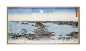 "Hiroshige Fine Art Open Edition Giclée:""Night View of Kanazawa in Musashi Province"""