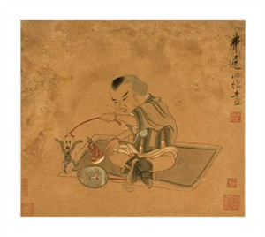 "Chen Hongshou Fine Art Open Edition Giclée:""A Child Playing with Marionettes"""