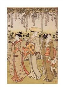 "Kiyonaga Fine Art Open Edition Giclée:""Three Women Viewing Wisteria at Kamedo"""