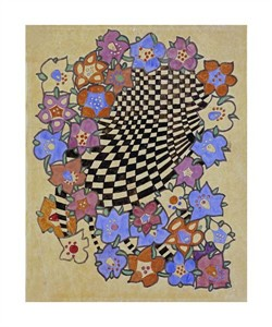 "Charles Rennie Mackintosh Fine Art Open Edition Giclée:""Floral and Chequered Fabric Design, Circa 1916"""