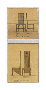 "Charles Rennie Mackintosh Fine Art Open Edition Giclée:""Design for Chairs, 1903"""