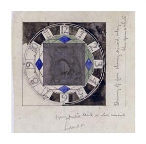 "Charles Rennie Mackintosh Fine Art Open Edition Giclée:""Design for Clock Face, 1917"""
