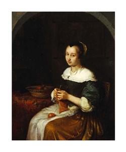"""Caspar Netscher Fine Art Open Edition Giclée:""""A Woman Knitting with a Basket of Fruit"""""""