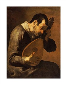 "Bartolomeo Passante Fine Art Open Edition Gicl�e:""The Sense of Hearing; a Man Playing a Mandolin"""