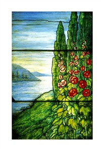 "Tiffany Studios Fine Art Open Edition Giclée:""Red Blossoming Hollyhocks and Arbor Vitae"""