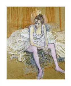 """Henri Toulouse-Lautrec Fine Art Open Edition Giclée:""""A Seated Dancer with Pink Stockings"""""""