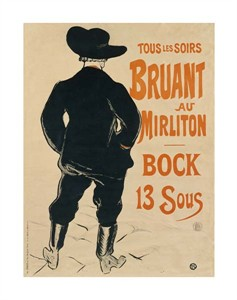 """Henri Toulouse-Lautrec Fine Art Open Edition Giclée:""""Aristide Bruant"""""""