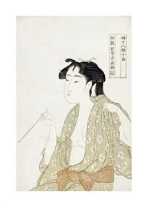 "Kitagawa Utamaro Fine Art Open Edition Giclée:""Portrait of a Woman Smoking"""