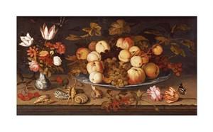 """Balthasar Van Der Ast Fine Art Open Edition Giclée:""""Fruit on a Dish"""""""