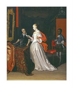 """Eglon Hendrick Van Der Neer Fine Art Open Edition Giclée:""""A Lady Holding a Letter"""""""