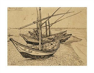 "Vincent Van Gogh Fine Art Open Edition Giclée:""Boats on the Beach at Saintes-Maries-De-La-Mer"""