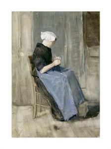 """Vincent Van Gogh Fine Art Open Edition Giclée:""""A Young Scheveningen Woman Knitting"""""""