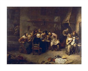 "Gillis Van Tilborch Fine Art Open Edition Giclée:""Peasants Drinking and Smoking in an Inn"""