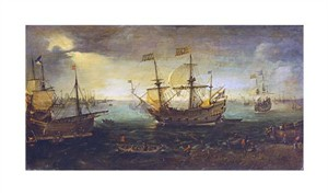 """Cornelis Claesz Van Wieringen Fine Art Open Edition Giclée:""""3 Master Firing a Saluted"""""""