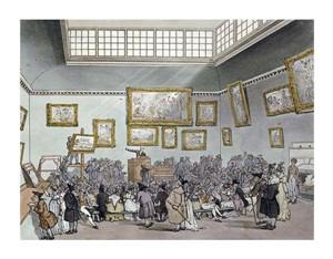 "R. Ackermann Fine Art Open Edition Giclée:""Colored Aquatint of Christies Auction Room"""