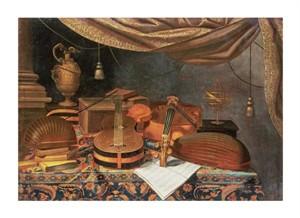 """Evaristo Baschenis Fine Art Open Edition Giclée:""""A Guitar, a Cello, Lutes"""""""