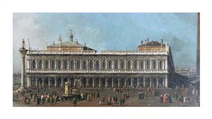 "Giovanni Antonio Canal Fine Art Open Edition Giclée:""The Library and the Piazetta, Venice"""