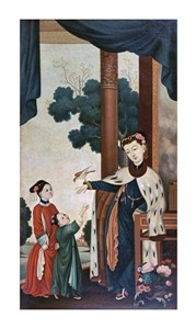 "Chinese School Fine Art Open Edition Giclée:""A Mandarin's Wife with Their Two Daughters"""