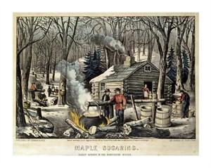 "Currier and Ives Fine Art Open Edition Giclée:""Maple Sugaring - Early Spring in the Northern Woods"""