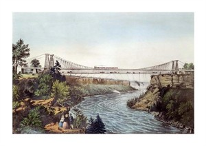 "Currier and Ives Fine Art Open Edition Giclée:""The Rail Road Suspension Bridge"""