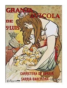 "Alejandro De Riquer Fine Art Open Edition Giclée:""Granja Avicola de Sn.Luis"""
