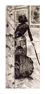 """Edgar Degas Fine Art Open Edition Giclée:""""Mary Cassatt at the Louvre"""""""