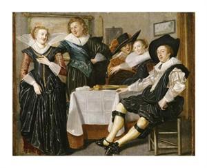 """Dirck Hals Fine Art Open Edition Giclée:""""A Merry Company in an Interior"""""""