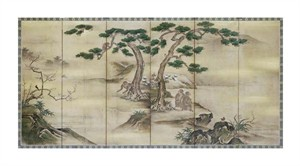 "Kano School Fine Art Open Edition Giclée:""Birds, Flowers and Monkeys Six-Panel Screen"""