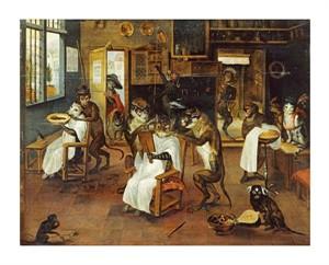 """Jan Van Kessel Fine Art Open Edition Giclée:""""A Singerie: Monkey Barbers Serving Cats"""""""