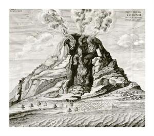 "Athanasius Kircher Fine Art Open Edition Giclée:""Engraving of Vesuvius Erupting"""