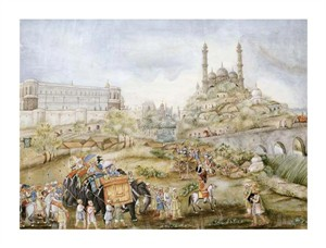 "Lucknow School Fine Art Open Edition Giclée:""A Hunting Procession"""