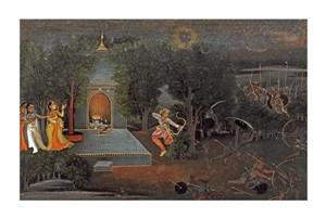 "Mir Kalan Oudh Fine Art Open Edition Giclée:""Illustration to the Ramayana"""