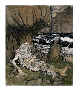 "Arthur Rackham Fine Art Open Edition Giclée:""A Crowned 'Merman' a Sea God Sleeping on a Rocky Shore"""