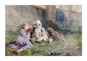 """Luigi Rossi Fine Art Open Edition Giclée:""""Children in a Garden"""""""