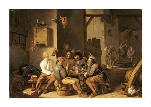 "Cornelis Saftleven Fine Art Open Edition Giclée:""Peasants Smoking and Drinking"""