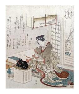 "Ryuryukyo Shinsai Fine Art Open Edition Giclée:""A Girl with Two Cats"""