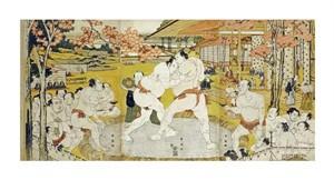 """Katsukawa Shunei Fine Art Open Edition Giclée:""""A Triptych of a Wrestling Bout"""""""
