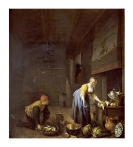 "Hendrik Martensz Sorgh Fine Art Open Edition Giclée:""A Kitchen with a Kitchen Maid"""