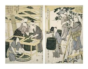 "Kitagawa Utamaro Fine Art Open Edition Giclée:""Silk-Worm Culture By Women"""